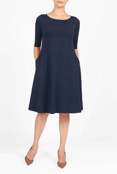 I <3 this Cotton knit trapeze shift dress from eShakti