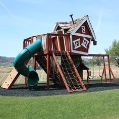 Mackeys Mansion Tree House from PoshTots---who could afford this. Park districts couldn't even afford a 15000 playcenter!