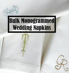 Custom Bulk Monogrammed Wedding Napkins, Embroidered Cloth Dinner Napkins