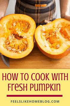 How to cook with fresh pumpkin - It's simple and easy to use fresh pumpkins to make puree. You can freeze it to save it for later use in recipes like pie, bread, and cookies. What to do with a fresh pumpkin to make a healthy meal. Great for fall and especially Thanksgiving. #pumpkin #freshpumpkin #makeitfromscratch Allergy Free Recipes, Healthy Recipes, Freeze, Food Network Recipes, Free Food, Pumpkins, Meal Planning, Thanksgiving, Pie