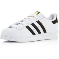 Adidas Women's Superstar Foundation Lace Up Sneakers ($85) ❤ liked on Polyvore featuring shoes, sneakers, adidas, flats, sapatos, lace up shoes, lace up flats, laced up shoes, sport sneakers and flat pumps