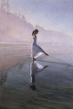Dancing on the Shore - Steve Hanks Watercolor Paintings, http://hative.com/steve-hanks-watercolor-paintings/,