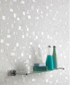 Spa : White/Light Blue Wallpaper ...............Perfect for a sparkly bathroom!