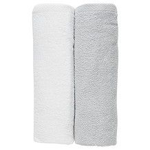 2 Pack Baby Bath Towels - White / Grey