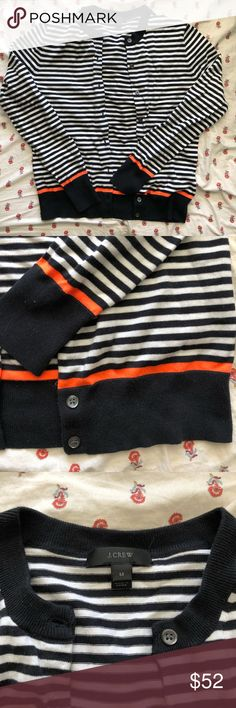 Women's J Crew cardigan Women's J Crew  cardigan. Navy and white striped with orange detail. Size medium. Never worn. J. Crew Sweaters Cardigans