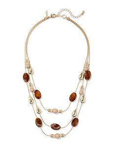 Beaded Triple-Row Goldtone Necklace  - New York & Company