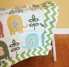 ELEPHANT QUILT by PETUNIAS blue green baby blanket by PETUNIAS