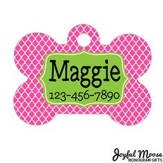 Personalized Pet Tag Pet Tag Custom Pet Tag Pink by JoyfulMoose