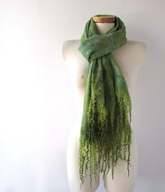 Gorgeous Green Cobweb Felted Scarf