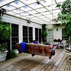 Add a Swing Swings aren't just for porches or playgrounds! Add one to the beams of your pergola and give yourself a charming place to relax. Here's a hint: Make sure your swing is attached to the sturdy, load-bearing beams instead of the rafters. Love the shapes in this pergola too!