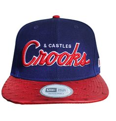 Crooks & Castles Mens Woven Throwback Cap Team Crooks Navy/Red Ostrich