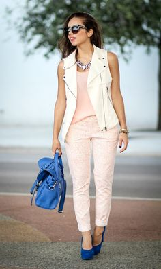 Gorgeously sweet but bold look by Nany's Klozet. Soft light pinks paired with refreshingly bold cobalt blue.
