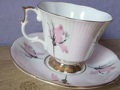 Vintage Imperial Fine China teacup and saucer, English tea cup, Pale Pink tea cup, Pink and grey teacup, English china tea cup, 22k Gold cup