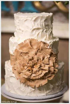 Rustic Burlap Cake by Intricate Icings  |  TheCakeBlog.com SANDY LOVE THE BURLAP BOW & ICING PATTERN. MAYBE WE CAN TALK ANNA INTO A FEW DESIGNS ON THE CAKES SIMPLE LIKE THE PINK & WHITE CAKE..