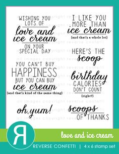 "There's always room for ice cream and this is the best kind…calorie free!  Create a variety of papercrafting projects using these darling ice cream themed sentiments along with the coordinating Love & Ice Cream Confetti Cuts die set (sold separately).  You'll find yourself ""scooping"" up this set to use over and over with its 7 large font sentiments that cover a variety of occasions."