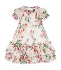 Children: Dresses Dolce & Gabbana Rose Print Silk Dress