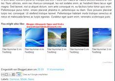 Ähnliche Artikel bei Blogger anzeigen. Artikel die sie interessieren könnten bei Blogger anzeigen.  Noch einzurichten (13.10.2014)