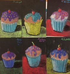 Cupcake Art Lesson on Values This lesson can be simplified for younger grades. Simple shading and values make this project a favorite every time. Materials: Black Cardstock, Crayola Colored Chalk, Pencil & eraser On black card stock we draw a cupcake, using simple shapes. Draw in the drippy frosting and the cherry. Add a plate … Continue reading Cupcakes- Values and Shadows