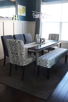 Dining room table with bench and chairs home-sweet-home...LOVE LOVE LOVE