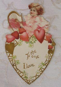 Victorian Vintage Valentine, Flat, Lady Plays a Harp