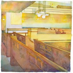 """FLW Unity Temple by Richard Sneary Watercolor ~ 11"""" x 11"""""""
