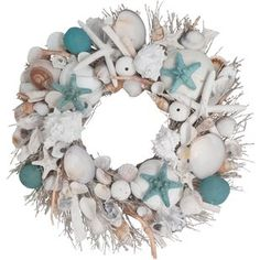 Evoke a feeling of coastal living with this full Preserved Seashell Wreath adorned with stylishly curated botanicals and natural driftwood. The wreath comes packaged in a wood wreath crate for protection, which makes it very giftable as well. Coastal Wreath, Seashell Wreath, Seashell Crafts, Beach Wreaths, Driftwood Wreath, Seashell Projects, Nautical Wreath, Seashell Art, Mermaid Crafts