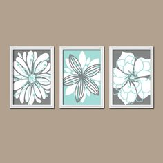 Bathroom Artwork Canvas Or Prints Charcoal Gray Aqua Blue Bathroom Flower Burst Outline Dahlia Floral Bloom Bedroom Home Decor Set Of 3