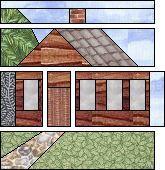 Log cabin house block: free paper pieced pattern.