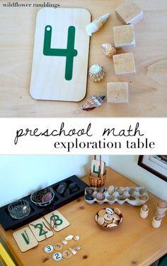 Preschool math exploration table - wildflower ramblings