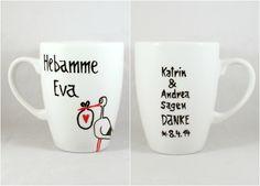 Dein persönliches Geschenk, dein Geschenk zur Geburt für Deine Hebamme, einfach DANKE sagen für die einfühlsame Geburt :  Schicke einzigartige Wunschname Hebamme Tasse mit dem gewissen Extra!   Mit...