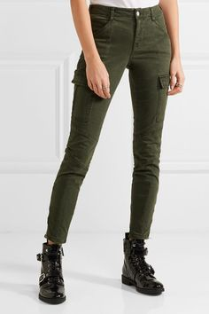 J Brand - Houlihan Cropped Stretch-cotton Twill Skinny Pants - Army green - 27