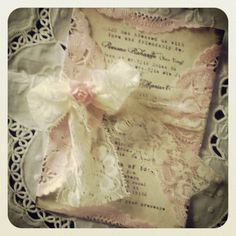 Blush pink vintage lace invitation antique by MemoryMakersDesigns