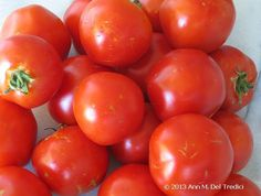 Tomatoes ~ Early Girl heirloom tomato ~ from The Peach Farm at the Farmers' Market today. Photo © 2013 Ann M. Del Tredici