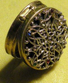 Vintage Compact Pill Box Filigree Jeweled by RosePetalResources, $24.00