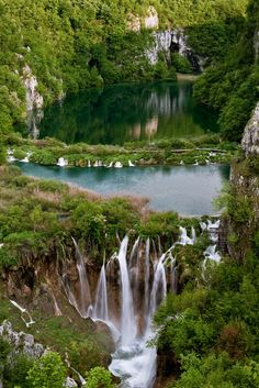 Piltvice Lakes, Croatia   The Plitvice Lakes National Park is world famous for its lakes arranged in cascades. Currently, 16 lakes can be seen from the surface. These lakes are a result of the confluence of several small rivers and subterranean karst rivers. The lakes are all interconnected and follow the water flow. They are separated by natural dams of travertine, which is deposited by the action of moss, algae, and bacteria.