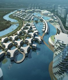 Fractal-like condominiums with pockets of nature. Air is fresh. Future residents who like scuba diving to see friendly synthetic sea-life, welcome.