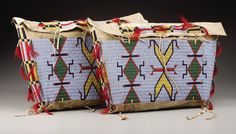 American Indian Art:Beadwork, A PAIR OF SIOUX BEADED HIDE TIPI BAGS. . c. 1900. ... (Total: 2Items)