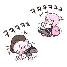 Exo SC in knowing bros Obsession Exo Anime, Anime Chibi, Exo Cartoon, Cartoon Art, Kpop Exo, Chanyeol, Kyungsoo, Exo Stickers, Exo Music
