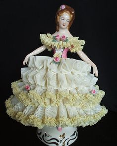 Mint German Dresden Lace Victorian Lady Figurine Germany Great Christmas Gift | eBay