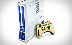 Star Wars Xbox 360R2-D2-inspired paint scheme, a matching white Kinect sensor, a C-3PO-themed gold wireless controller, a 320GB hard drive, a wired headset, the Kinect Adventures game, and the new Kinect Star Wars game. [Scouted by Devin, Eddie, Albert, Sean, & David]