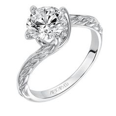"Artcaved ""Lina"" Twist Diamond Engagement Ring in 14kt White Gold · 31-V559GRW · Ben Garelick Jewelers"