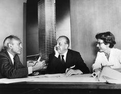 Philip Johnson, Ludwig Mies van der Rohe and Phyllis Lambert