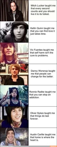 Mitch Lucker, Kellin Quinn, Vic Fuentes, Danny Worsnop, Austin Carlile, Ronngie Radke and Oliver Sykes