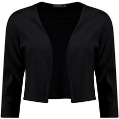 Boohoo Katie Crop Ponte Edge To Edge Blazer (145 MXN) ❤ liked on Polyvore featuring outerwear, jackets, blazers, black, coats, puff jacket, cropped blazer, ponte blazer, short-sleeve blazers and puff sleeve blazer
