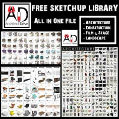 Great Sketchup Library Collection In This File You Will Find a Great Sketchup Library Of : Architecture Construction Film & Stage Landscape They Are All Modeled And Textured , Enjoy ! SKETCHUP, Models, FREE SKETCHUP LIBRARY, SKETCHUP LIBRARY, Free Sketchup Models,