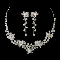 White Pearl and Rhinestone Floral Wedding Jewelry Set - beautiful! - Affordable Elegance Bridal -