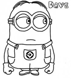 Print Out Dav E The Minion DespicableMe 2 Coloring Pages Disney Characters Fargelegge