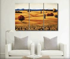 French Sunflower Field Landscape Modern Art 100% Hand Painted Oil Painting on Canvas Wall Art Deco Home Decoration (Unstretch No Frame) 3 Pics by galleryworldwide, http://www.amazon.com/dp/B0093JR5KC/ref=cm_sw_r_pi_dp_LBdUrb1A0Y674
