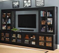 Image result for open shelf entertainment center with bridge