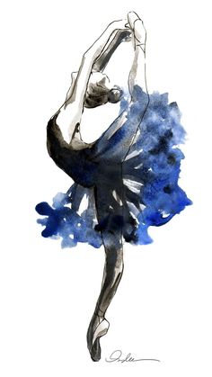 Dance Watercolor Blue & black